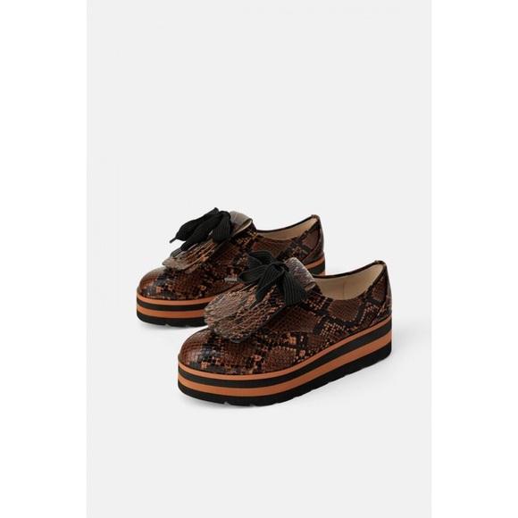 Zara animal print platform derby shoes snakeskin